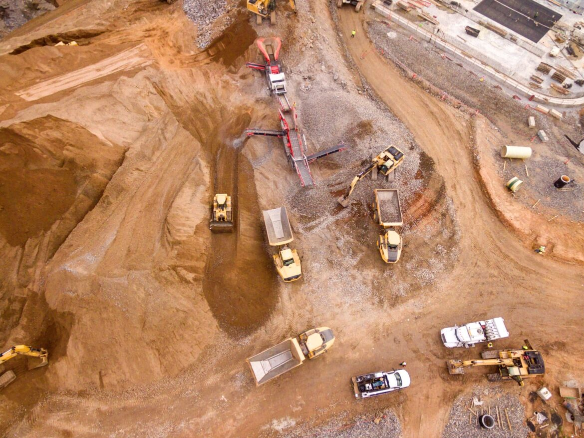 overhead view of a construction site